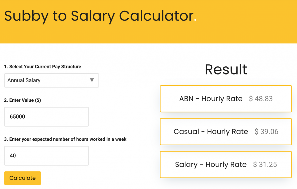 Example of subby to salary calculation