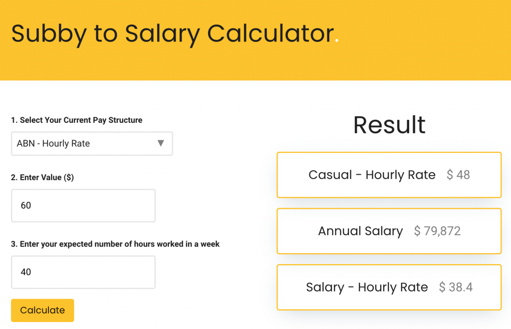 subby to salary example calculation